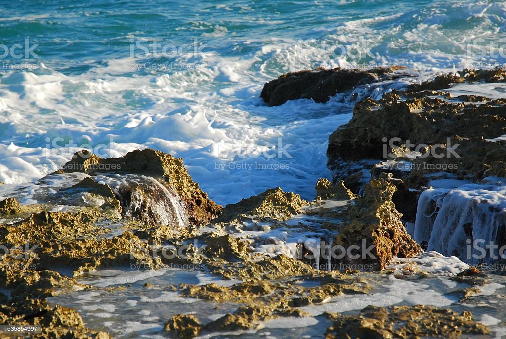 Waves on the Rocks at Punta Sur royalty-free stock photo