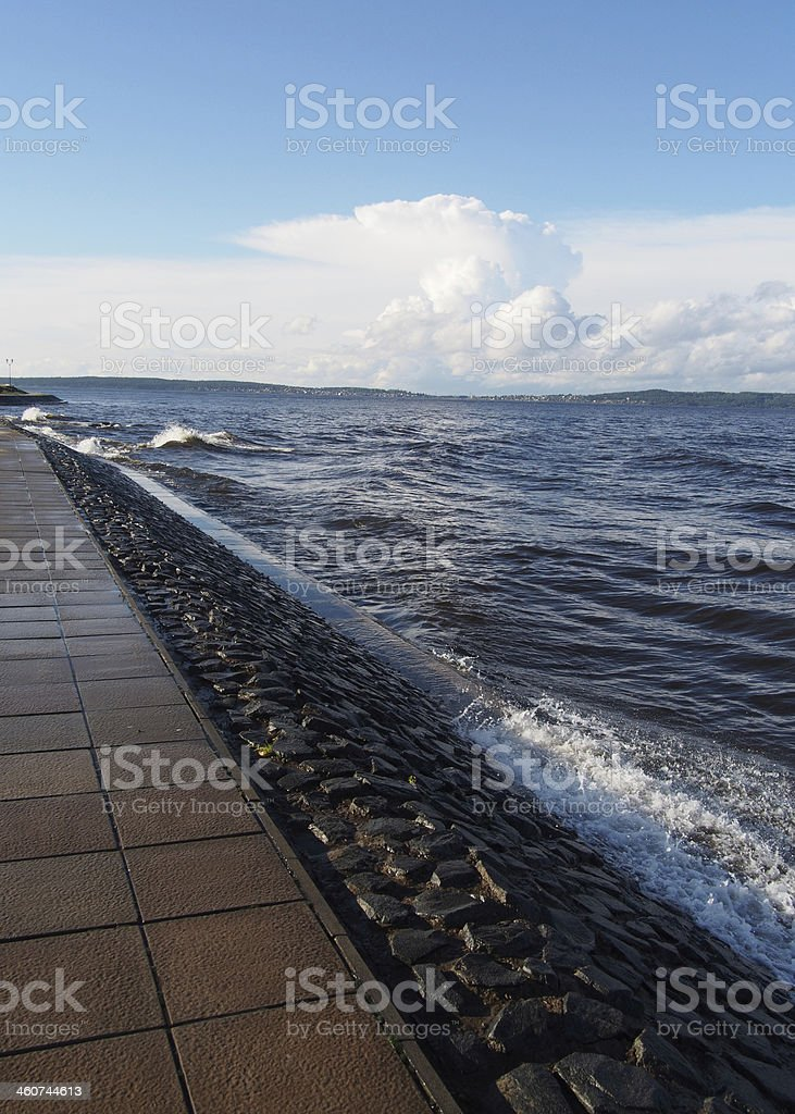 waves on the seafront royalty-free stock photo