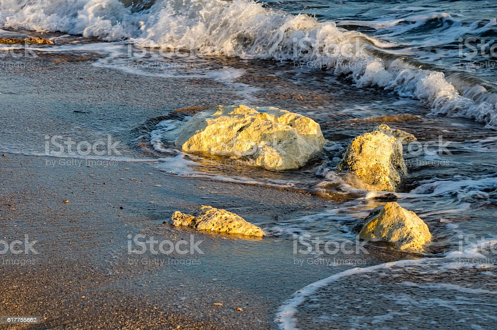 waves on the shore stock photo