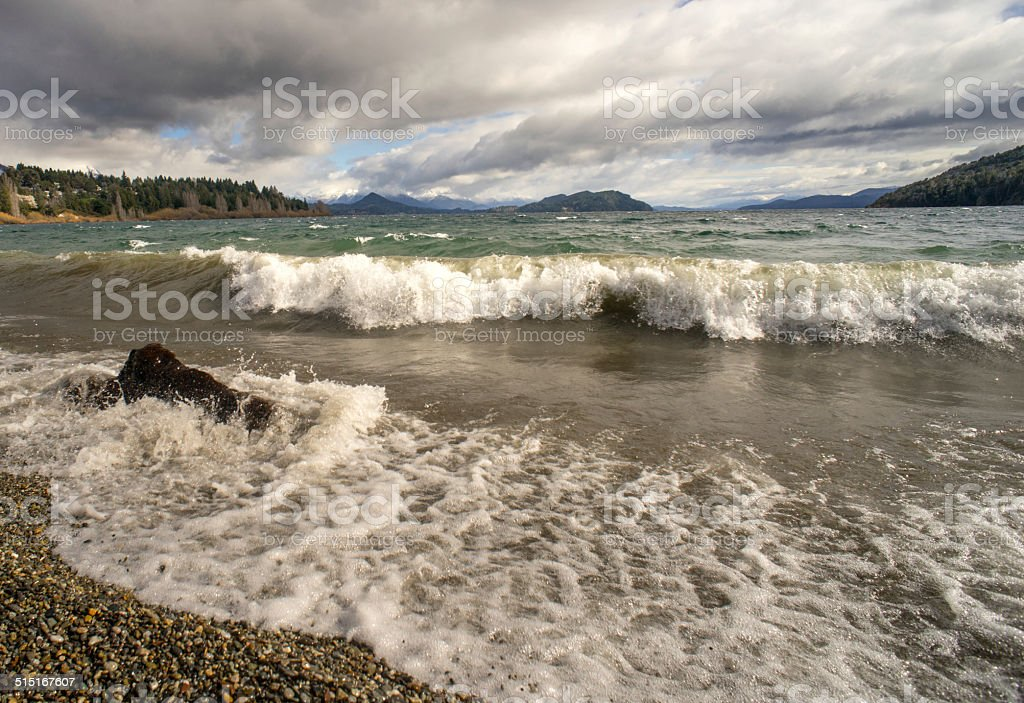 Waves on the shores of Lake Nahuel Huapi stock photo