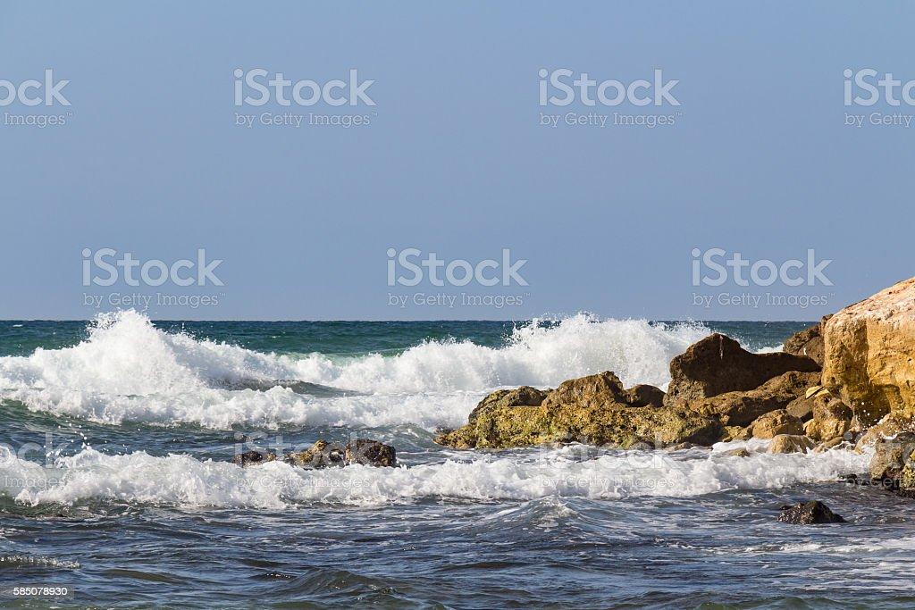 waves on to the seashore stock photo