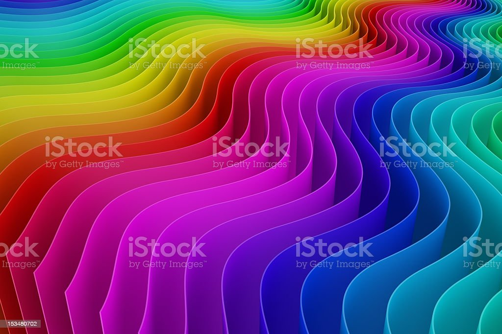 3D waves rainbow ombre color swatch background royalty-free stock photo