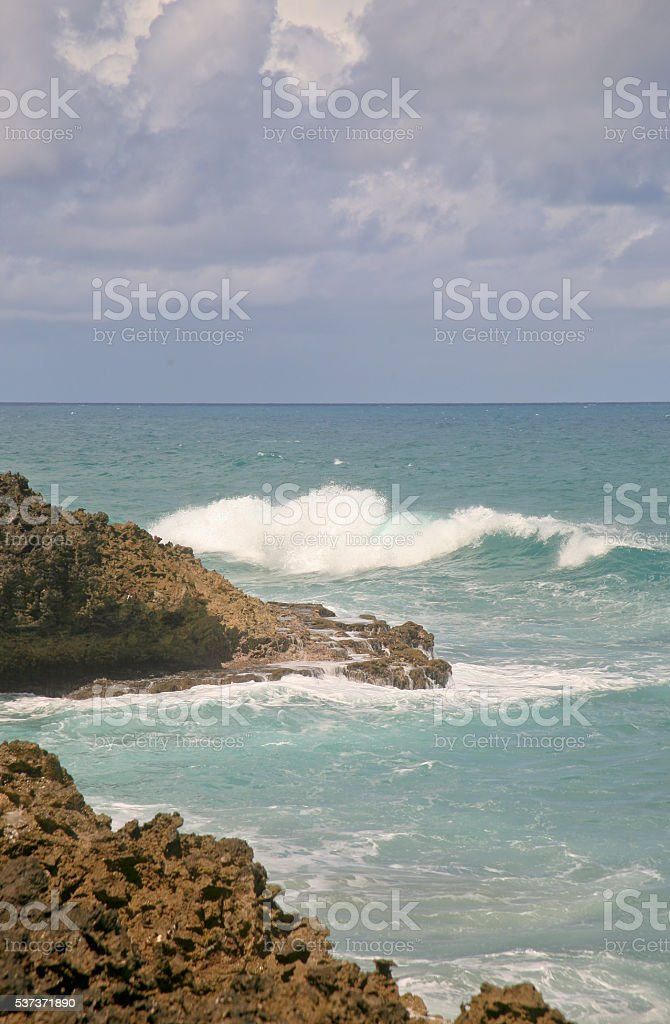 Waves, Rocky Shore, Sosua, Dominican Republic stock photo
