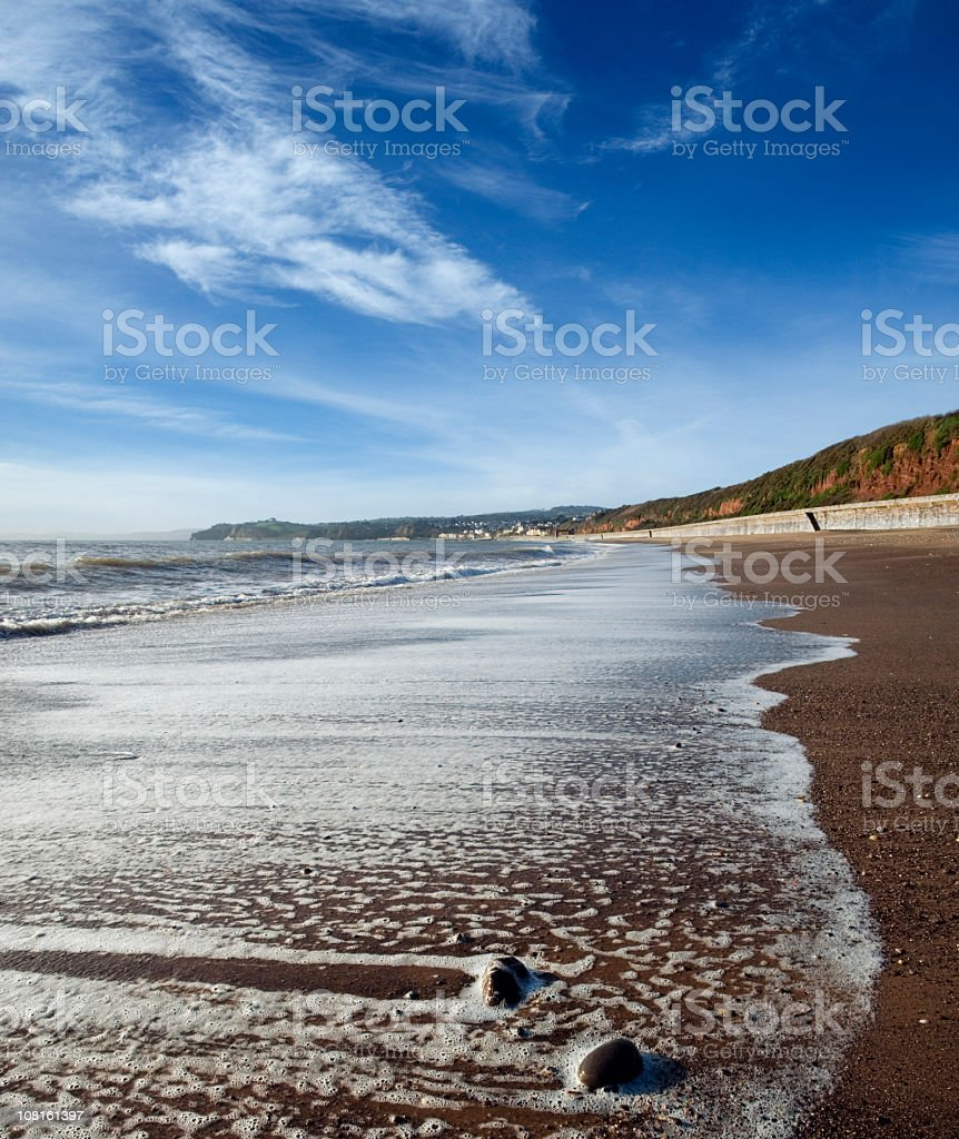 Waves Rolling in on Dawlish Beach, England stock photo