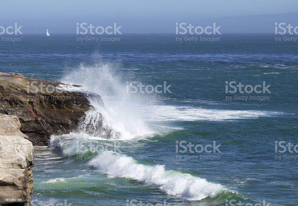 Waves splashing over rocks. royalty-free stock photo