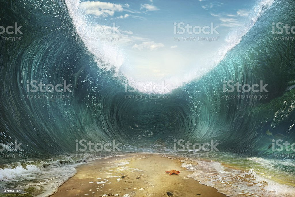 Waves. The seas are being parted stock photo