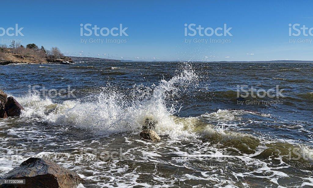 Waves washing ashore in Penobscot Bay, Maine stock photo