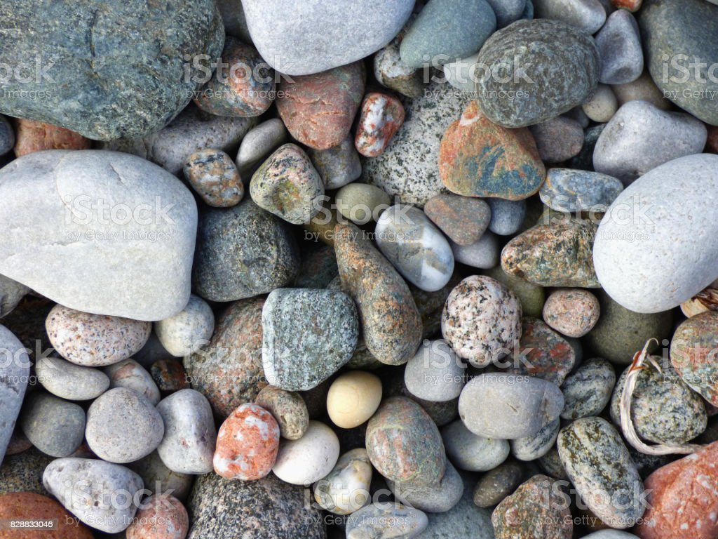 Wave-tossed Pebbles on the Shore of the Isle of Iona, Scotland stock photo