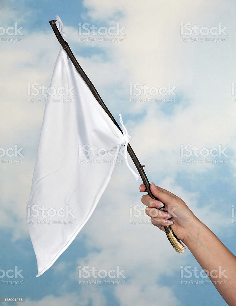 Waving a white flag stock photo