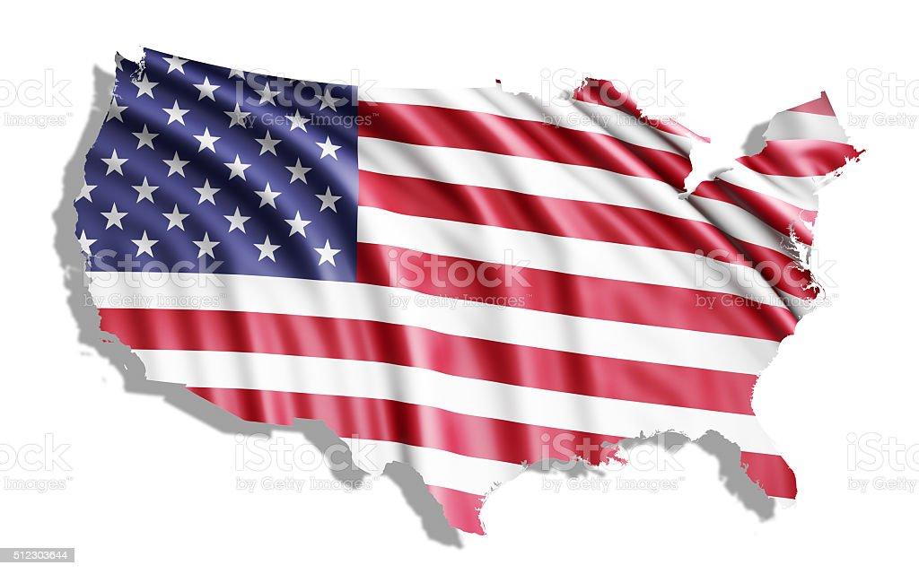 Waving American Flag Inside USA Map stock photo