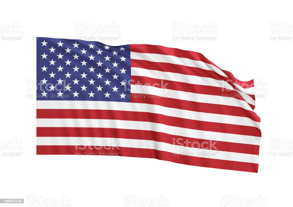Waving American Flag on White Background stock photo