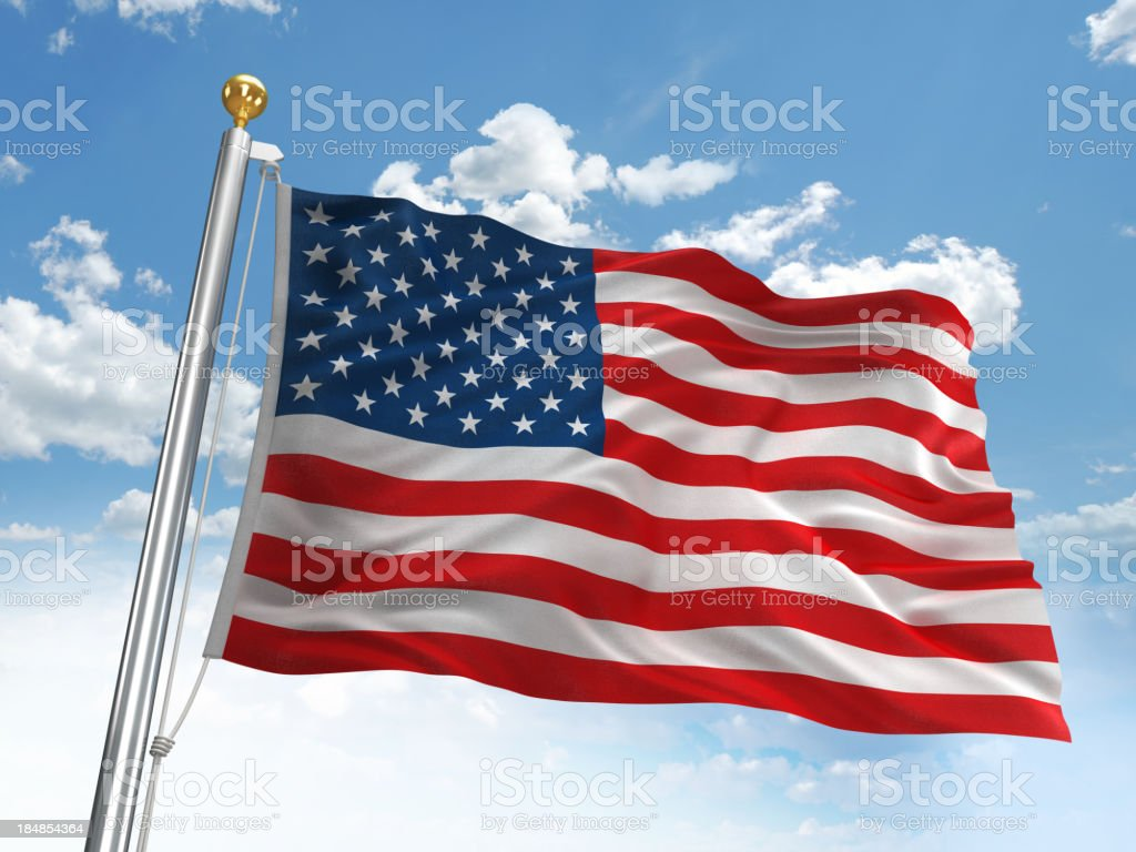 Waving American flag stock photo