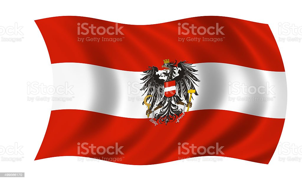 waving austrian flag with eagle stock photo