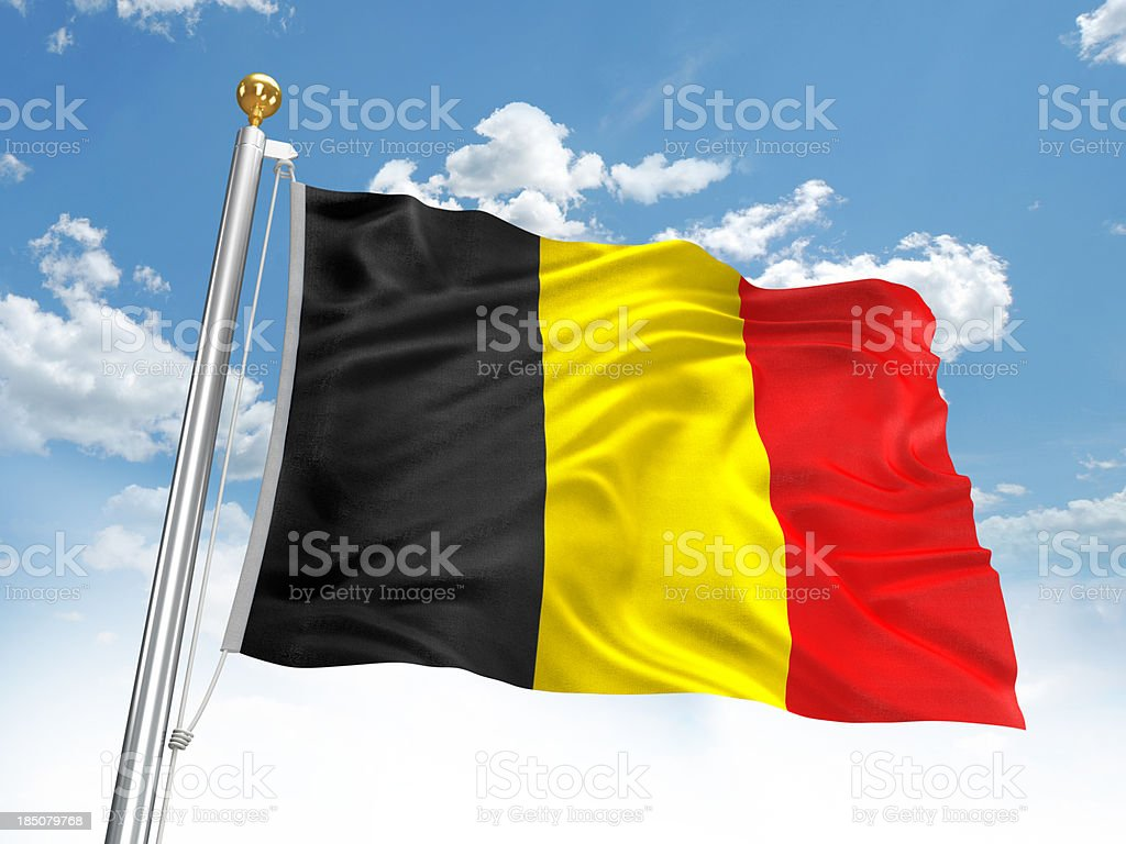 Waving Belgium flag stock photo