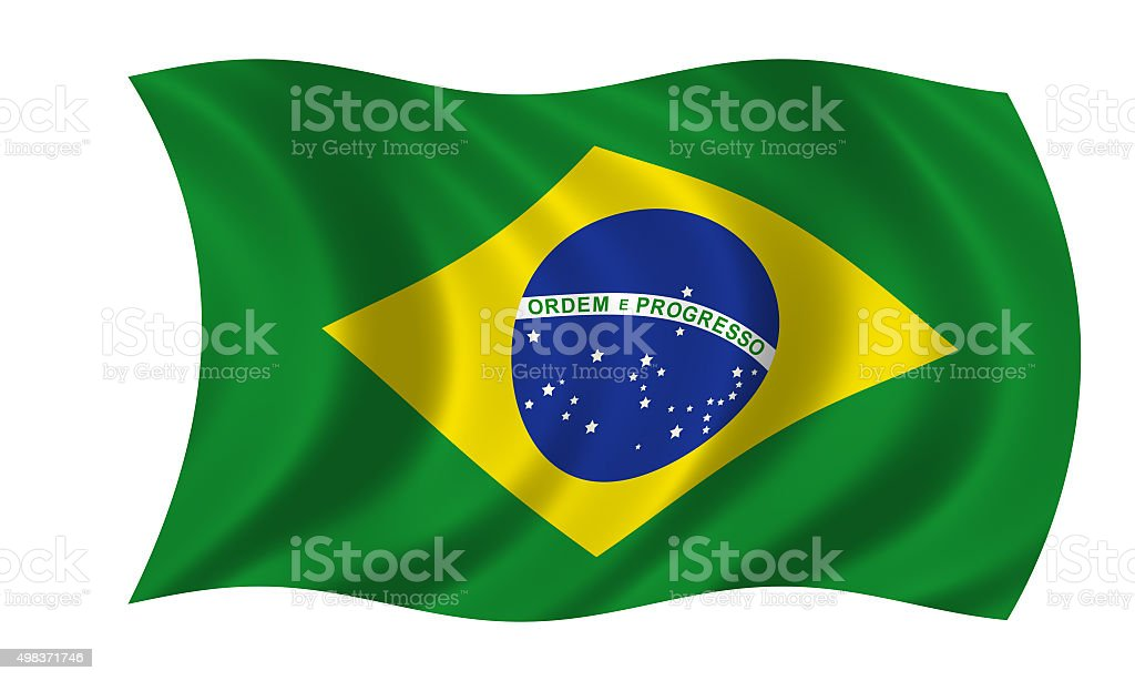 waving brazilian flag stock photo