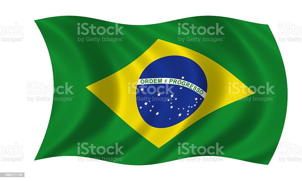 waving brazilian flag stock photo