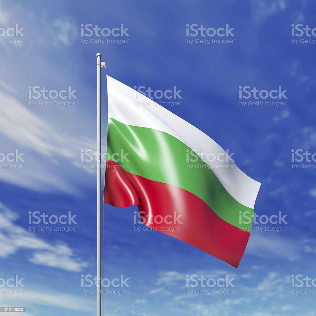 Waving  Bulgarian flag stock photo