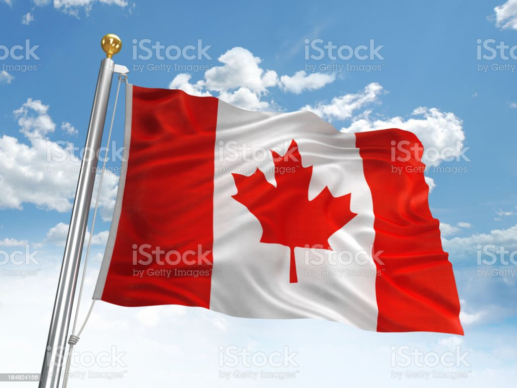 Waving Canada flag royalty-free stock photo