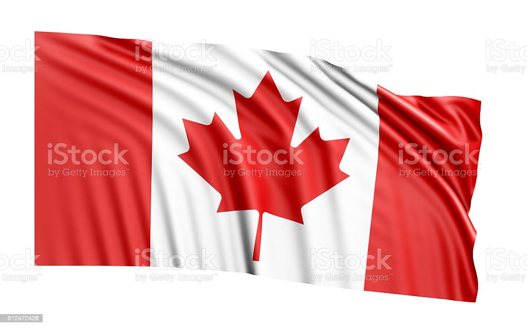 Waving Canadian Flag On White Background stock photo