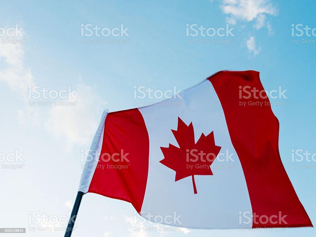 Waving Canadian flag stock photo