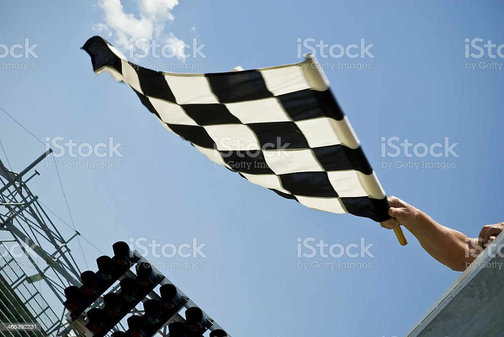 Waving check flag - motion blur stock photo