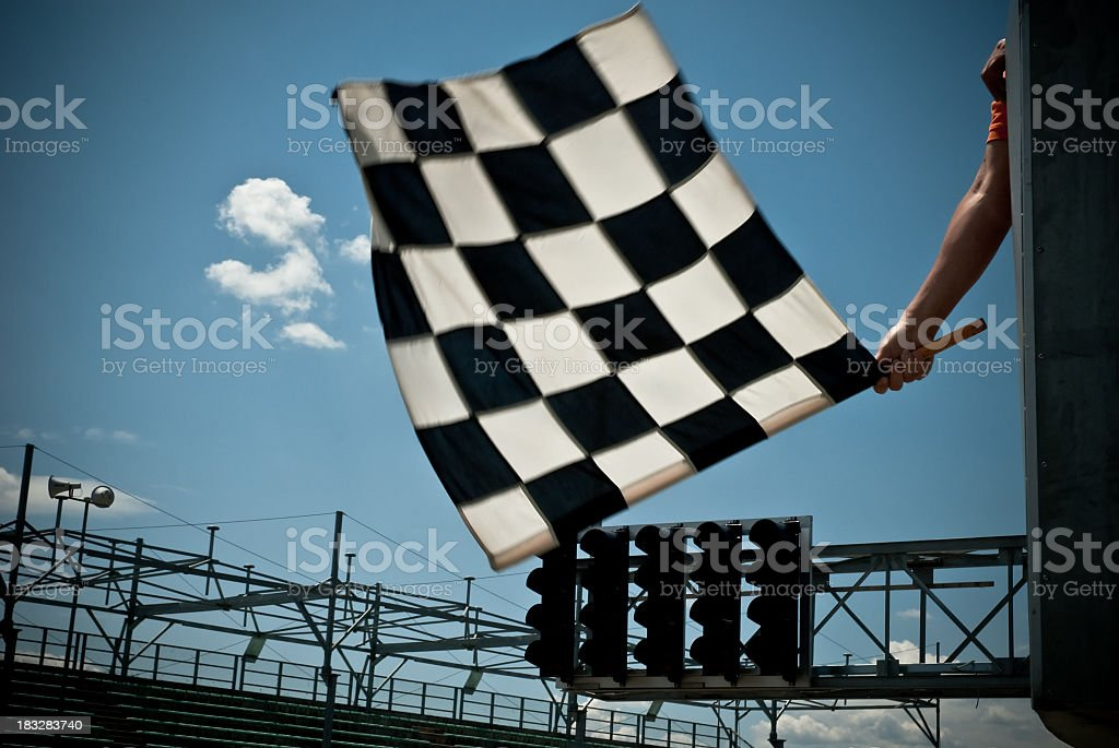 Waving Checkered Flag stock photo