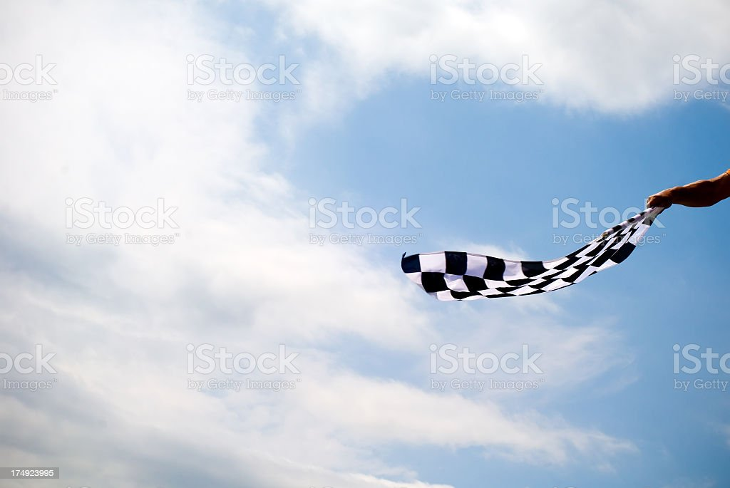 Waving Checkered Flah stock photo