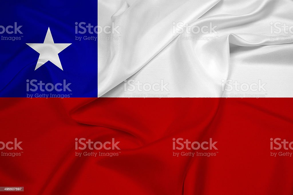 Waving Chile Flag stock photo