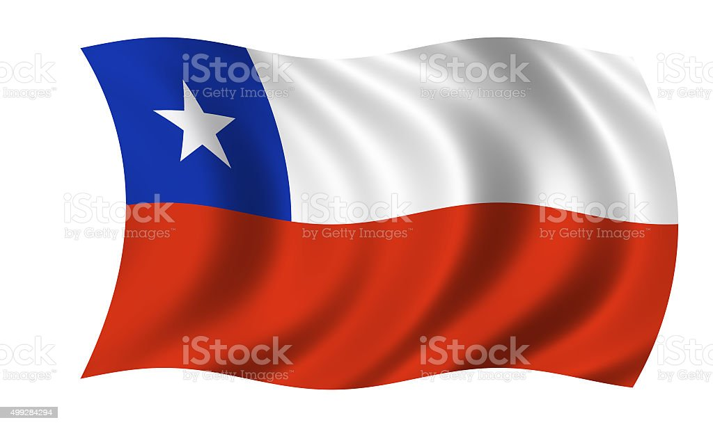 waving chilean flag stock photo