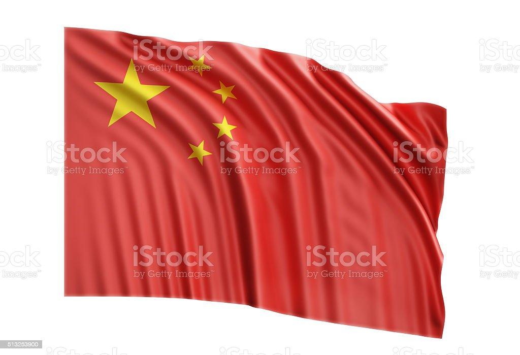 Waving Chinese Flag On White Background stock photo