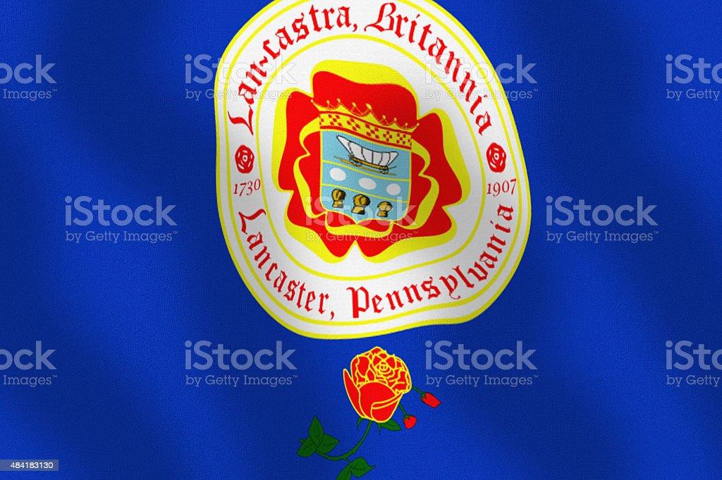 Waving City Flag of Lancaster State of Pennsylvania Series stock photo