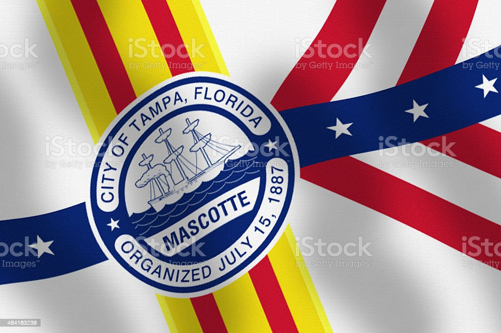 Waving City Flag of Tampa State of Florida Series stock photo