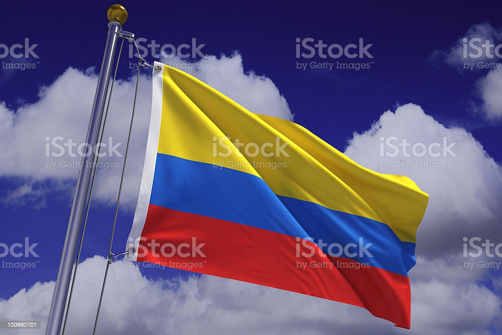 Waving Colombian Flag stock photo