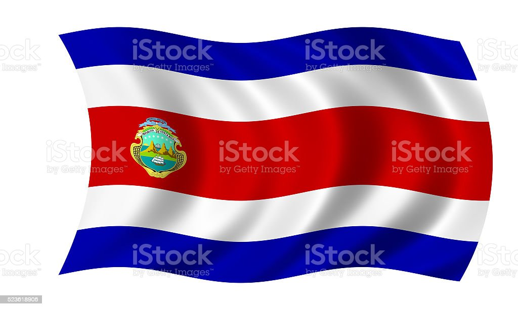 waving costa rican flag stock photo