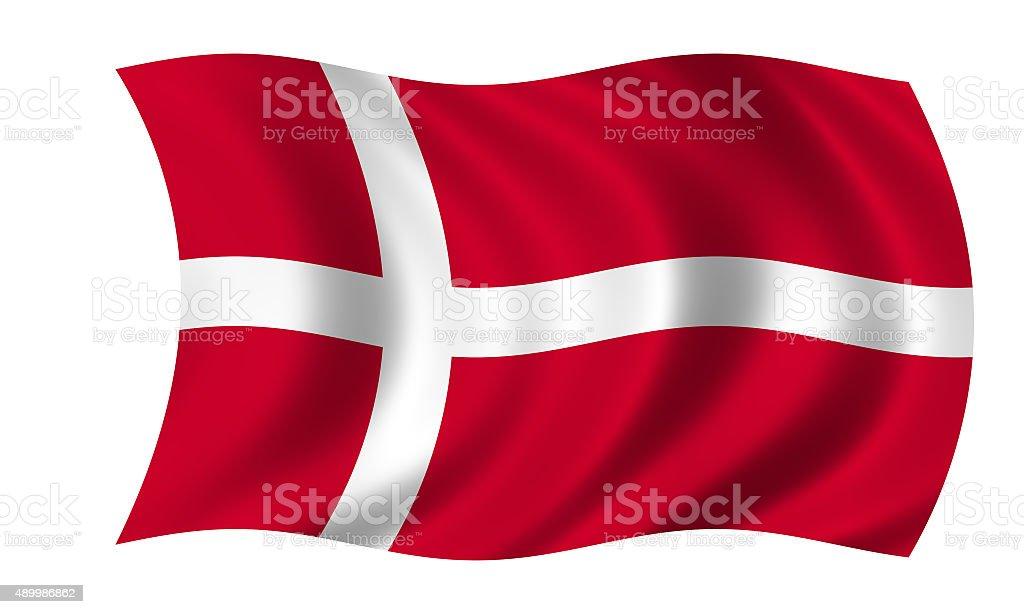 waving danish flag stock photo