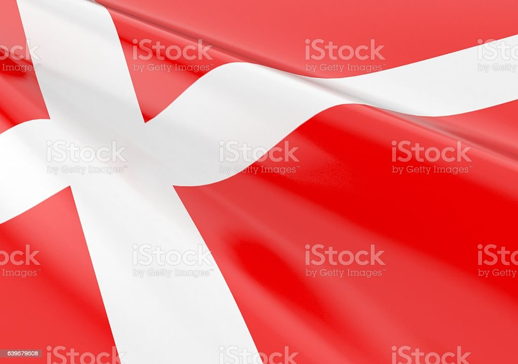Waving Denmark flag stock photo