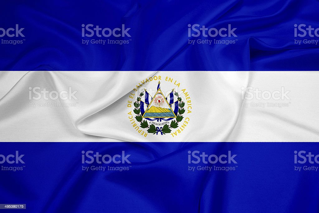 Waving El Salvador Flag stock photo