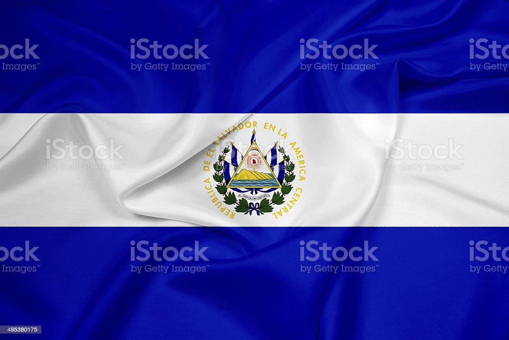 Waving El Salvador Flag stock photo