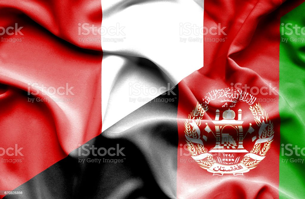 Waving flag of Afghanistan and Peru stock photo