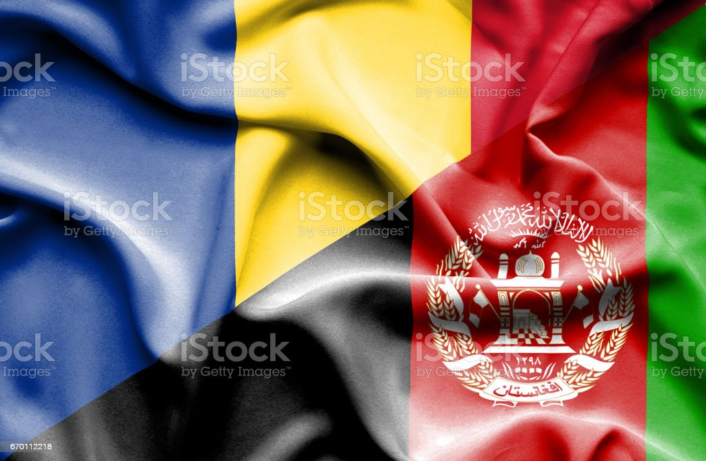 Waving flag of Afghanistan and Romania stock photo