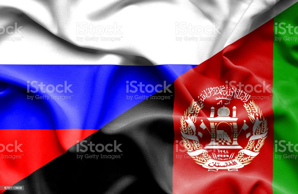 Waving flag of Afghanistan and Russia stock photo
