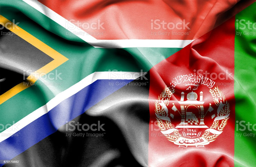 Waving flag of Afghanistan and South Africa stock photo
