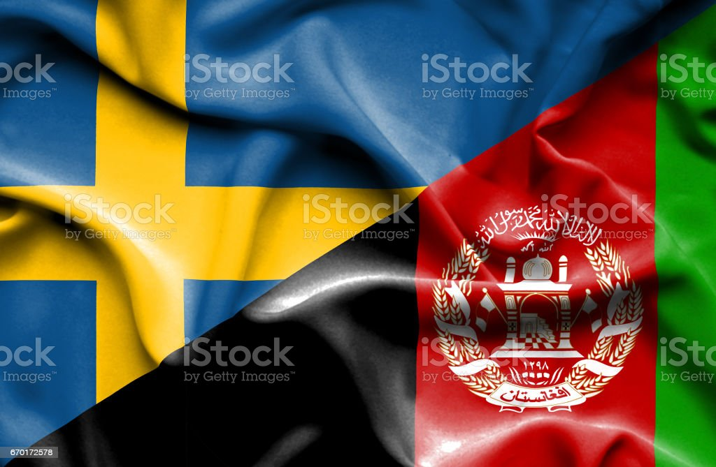 Waving flag of Afghanistan and Sweden stock photo