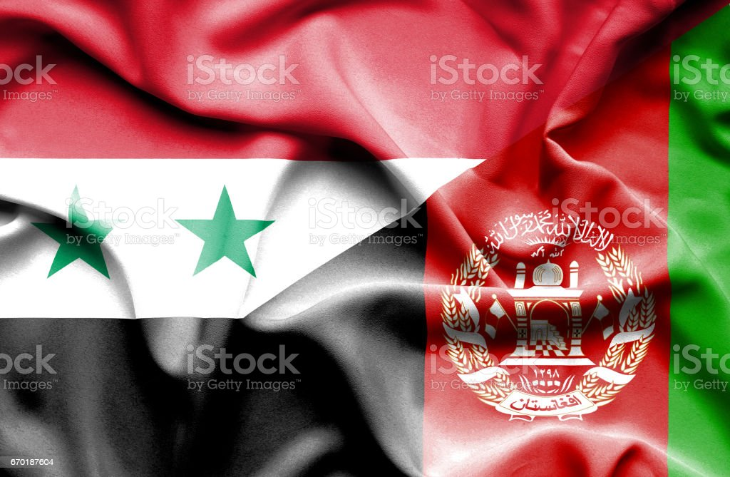 Waving flag of Afghanistan and Syria stock photo