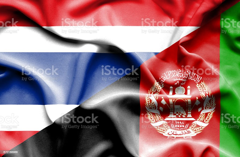 Waving flag of Afghanistan and Thailand stock photo