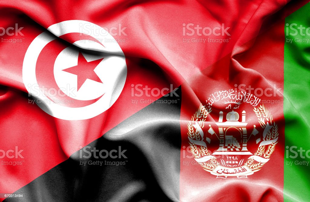 Waving flag of Afghanistan and Tunisia stock photo