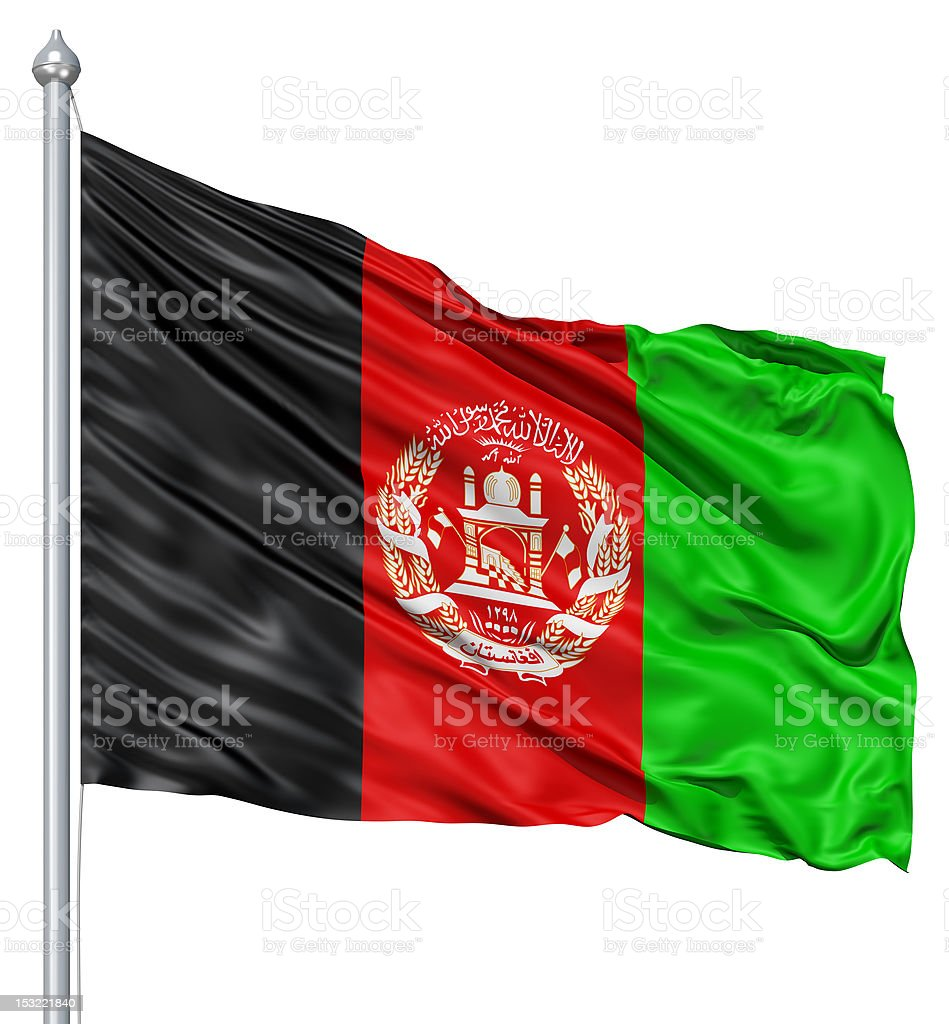 Waving flag of Afghanistan royalty-free stock photo