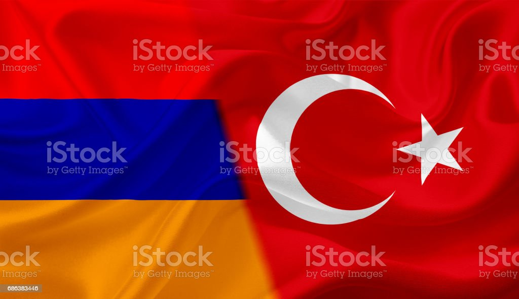 Waving flag of Armenia and Turkey, with fabric texture vector art illustration