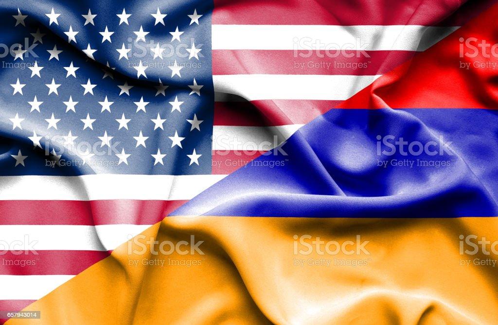 Waving flag of Armenia and USA stock photo