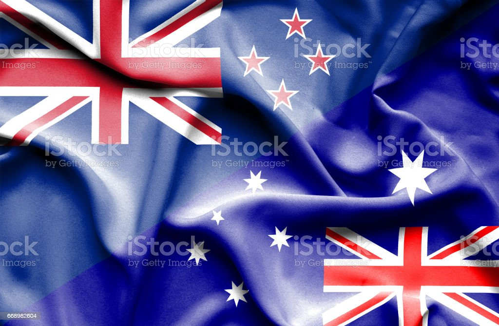 Waving flag of Australia and New Zealand stock photo